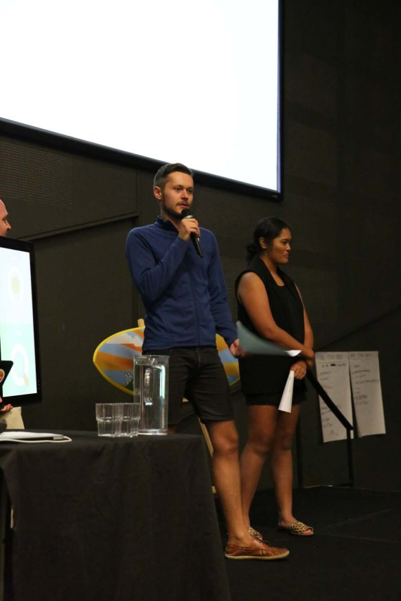 Myself, pitching the iForage business to the crowd.